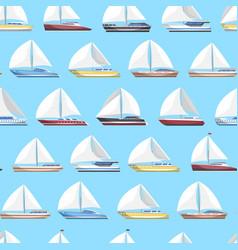 Sea sail yachts seamless pattern vector