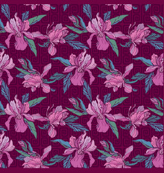 Seamless pattern with orchid flowers on violet vector