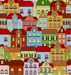 Seamless pattern with retro buildings and houses vector image