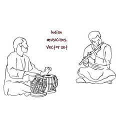 Silhouette of indian musician vector