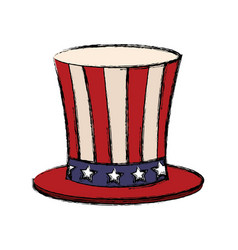Top hat with flag american color vector