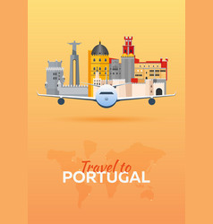 travel to portugal airplane with attractions vector image