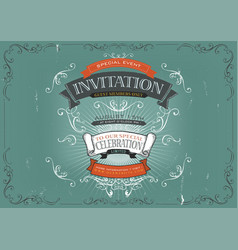 Vintage invitation poster background vector