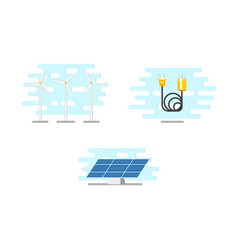 windmills solar panel and electric power cable vector image