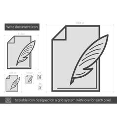 Write document line icon vector