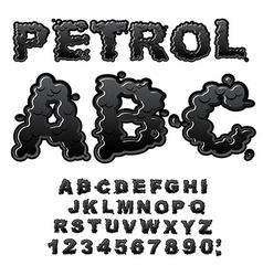 Petrol abc oil font black letters liquid lettring vector