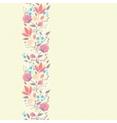 Fresh field flowers and leaves vertical seamless vector