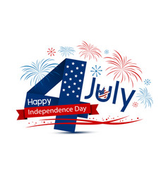 usa 4 july happy independence day design on white vector image