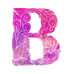 Coloring freehand drawing capital letter b vector