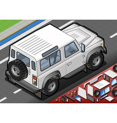 Isometric white cross country vehicle in rear view vector