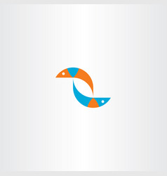 Fish blue orange logo sign vector