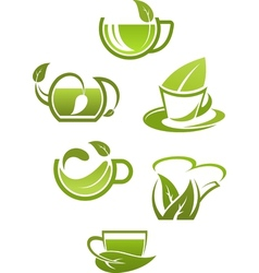 Herbal tea cups with green leaves vector