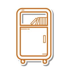 Thin line bookshelf icon vector