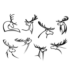 Proud profile of deer in outline style vector