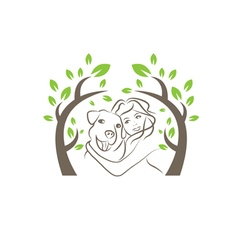 Line drawing of the dog and women under the tree vector image