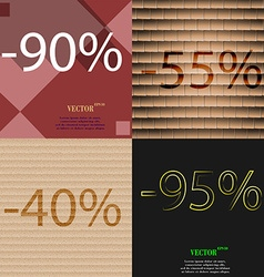 55 40 95 icon set of percent discount on abstract vector