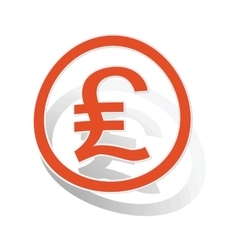 Pound sterling sign sticker orange vector