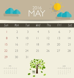 2016 calendar monthly calendar template for may vector