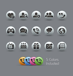 Social communications icons pearly series vector