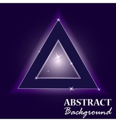 Neon abstract triangle glass in the starry sky vector