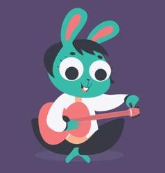 Cute bunny girl tuning acoustic guitar vector