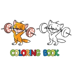 Kitten-athlete lifts the bar coloring book vector