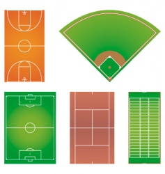 Five popular sport field layouts vector