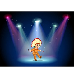 An indian boy dancing with spotlights vector