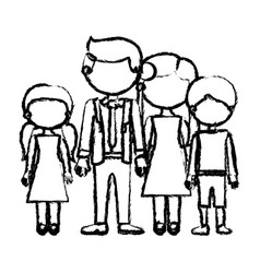 Blurred black contour faceless family group in vector
