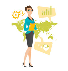 Business woman working in global business vector