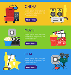 cartoon cinema banner horizontal set vector image vector image