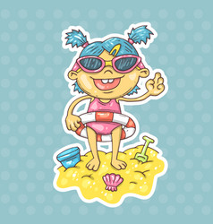 cartoon girl on the beach vector image