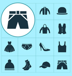 Clothes icons set collection of beanie trunks vector