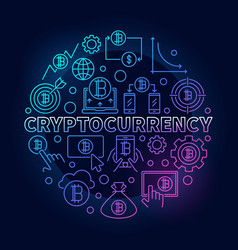 Cryptocurrency round colorful vector