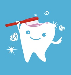 Cute tooth character with brush vector image