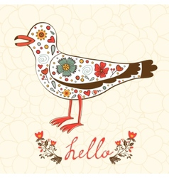 Elegant hello card with flying seagull vector image vector image