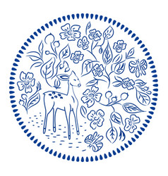 flowers and deer plate round design vector image