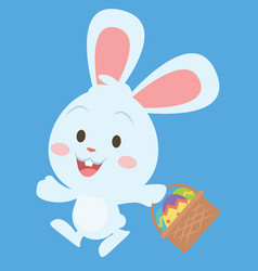 happy bunny with egg on basket vector image vector image