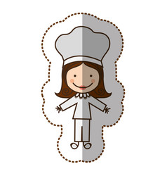 Happy woman chef icon vector