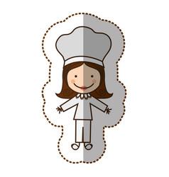 Happy woman chef icon vector