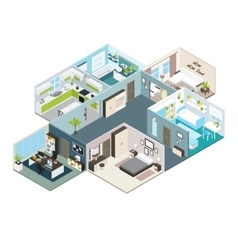 Isometric house interior view vector