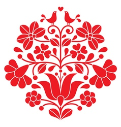 Kalocsai red embroidery - hungarian floral pattern vector