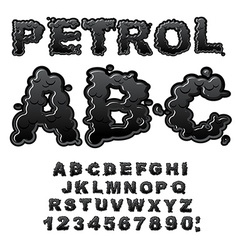 Petrol ABC Oil font Black letters Liquid lettring vector image vector image