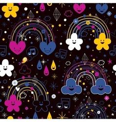 Rainbows night cartoon pattern vector