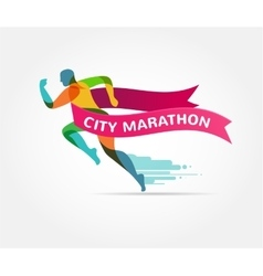 Running marathon icon and symbol with number vector