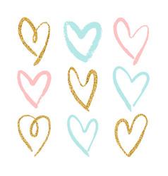 set of 9 decorative hearts vector image