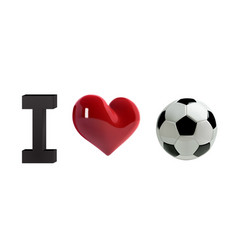 Soccer or football ball and red heart vector