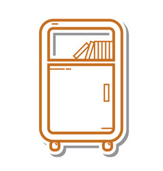 Thin line bookshelf icon vector