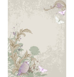 vintage bird and floral vector image vector image