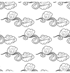 Vintage doodle cartoon clouds seamless pattern vector image vector image